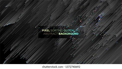 Minimaler Hintergrund mit Farbverlauf-Linien. Geometrisches trendy Design. Pixelsortierung glitch Stil. Eps10 Vektorgrafik