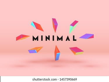 Minimal background with realistic 3d objects. Abstract geometric triangular and pyramidal elements in gradient of holographic, colors hologram. Vector illustration.