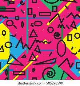 minimal background. Seamless pattern 80's - 90's years memphis design . vector illustration .