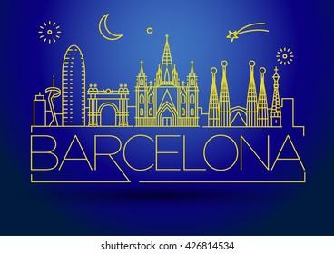 Minimal Barcelona City Linear Skyline with Typographic Design