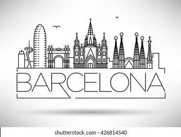 Minimal Barcelona City Linear Skyline with Typographic Design