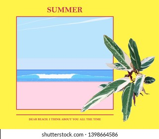 Minimal beach landscape and tropical plant decoration illustration. nostalgic feeling poster,card template design
