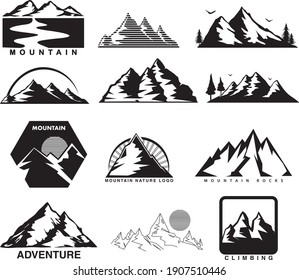 Minimal Black and White Mountain Landscape Vector Logo