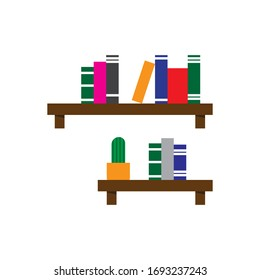 Minimal Bookshelf Flat Icon Vector Illustration