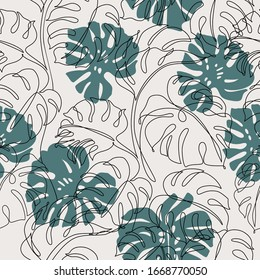 Minimal botanical art seamless pattern. Tropical monstera leaves silhouette and line art on pastel beige background. Exotic leaf vector design. Hand drawn line art botany illustration in pastel colors