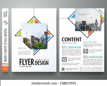 Minimal brochure report business flyers magazine poster template. Portfolio design vector. Abstract orange blue and green triangle on cover book presentation.