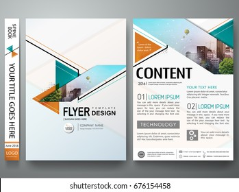 Minimal brochure report business flyers magazine poster template. Portfolio design vector. Abstract orange and green triangle on cover book presentation.