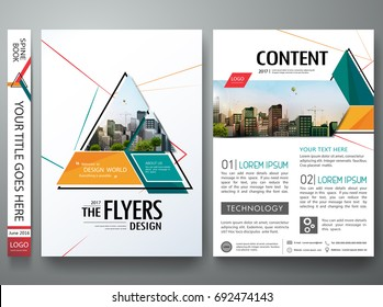 Minimal brochure report business flyers magazine poster template. Portfolio design vector. Abstract red orange and green triangle on cover book presentation.