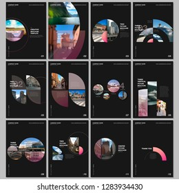 Minimal brochure templates with circles, round elements on black background. Covers design templates for flyer, leaflet, brochure, report, presentation, advertising, magazine.