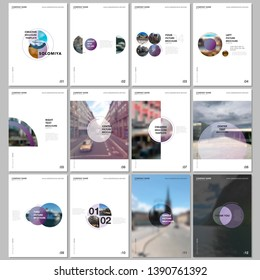 Minimal brochure templates with circles, round elements on white background. Covers design templates for flyer, leaflet, brochure, report, presentation, advertising, magazine.