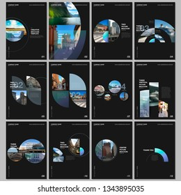 Minimal brochure templates with colorful circles, round elements on black background. Covers design templates for flyer, leaflet, brochure, report, presentation, advertising, magazine.