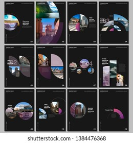 Minimal brochure templates with colorful circles, round elements on black background. Covers design templates for flyer, leaflet, brochure, report, presentation, advertising, magazine