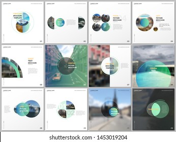 Minimal brochure templates with green color circles, round shapes. Covers design templates for square flyer, leaflet, brochure, report, presentation, blog, advertising, magazine for blogging.