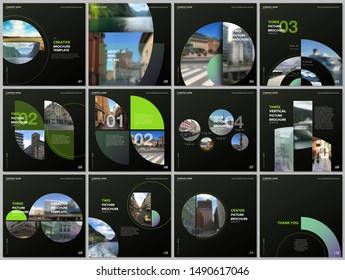 Minimal brochure templates with green color circles, round shapes. Travel covers design templates for square flyer, leaflet, brochure, report, presentation, blog, advertising, magazine for blogging.