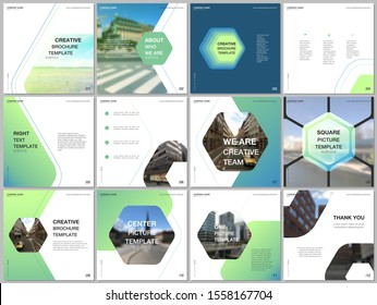 Minimal brochure templates with hexagonal design background, hexagon style pattern. Covers design templates for square flyer, leaflet, brochure, report, presentation, advertising, magazine.