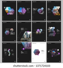 Minimal brochure templates with hexagons and hexagonal elements on black background. Covers design templates for flyer, leaflet, brochure, report, presentation, advertising, magazine.