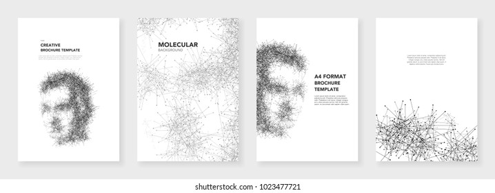 Minimal brochure templates. Molecules on white background. Artificial Intelligence, technology sci-fi concept, abstract vector design. Templates for flyer, leaflet, brochure, report, presentation.