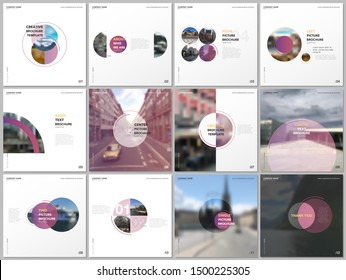 Minimal brochure templates with pink color circles, round shapes. Covers design templates for square flyer, leaflet, brochure, report, presentation, blog, advertising, magazine for blogging.