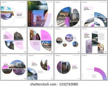 Minimal brochure templates with pink color circles, round shapes. Travel covers design templates for square flyer, leaflet, brochure, report, presentation, blog, advertising, magazine for blogging.