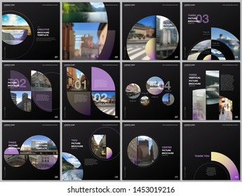 Minimal brochure templates with violet color circles, round shapes. Travel covers design templates for square flyer, leaflet, brochure, report, presentation, blog, advertising, magazine for blogging.