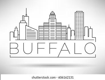 Minimal Buffalo Linear City Skyline with Typographic Design