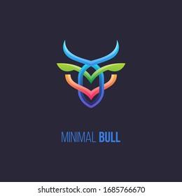 Minimal bull logo. Colorful animal head logo