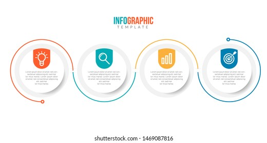 Minimal Business Infographics template. Timeline with 4 steps, options and marketing icons .Vector linear infographic with four circle conected elements. Can be use for presentation.