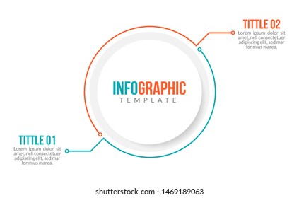Minimal Business Infographics template. Timeline with 2 steps, options and marketing icons .Vector linear infographic with two circle conected elements. Can be use for presentation.