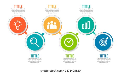 Minimal Business Infographics template. Timeline with 6 steps, options and marketing icons .Vector linear infographic with six circle conected elements. Can be use for presentation.