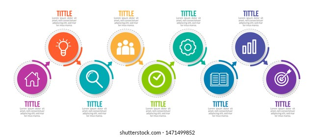 Minimal Business Infographics template. Timeline with 9 steps, options and marketing icons .Vector linear infographic with nine circle conected elements. Can be use for presentation.