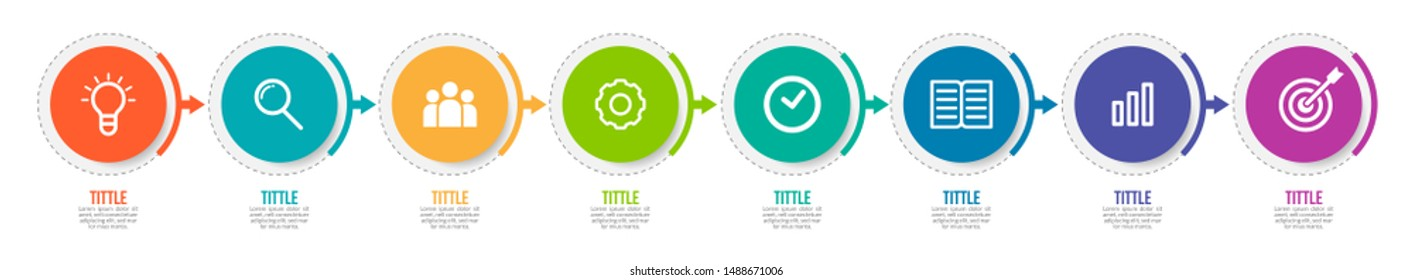 Minimal Business Infographics template. Timeline with 8 steps, options and marketing icons .Vector linear infographic with eight  circle conected elements. Can be use for presentation.