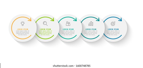 Minimal Business Infographics template. Timeline with 5 steps, options and marketing icons .Vector linear infographic with five conected elements. Can be use for presentation.