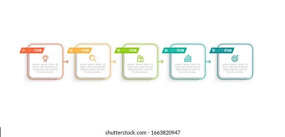 Minimal Business Infographics template. Timeline with 5 steps, options and marketing icons .Vector linear infographic with five circle conected elements. Can be use for presentation.
