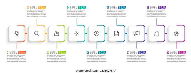 Minimal Business Infographics template. Timeline with 9 steps, options and marketing icons .Vector linear infographic with nine connected elements. Can be use for presentation.