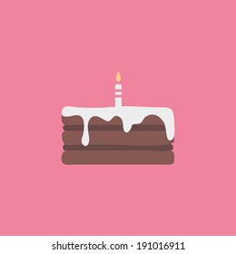 Minimal cake illustration, with candle. Cake icon, on pink background. Colorful template, for birthday. Holiday concept. Easy to edit. Vector illustration - EPS10.