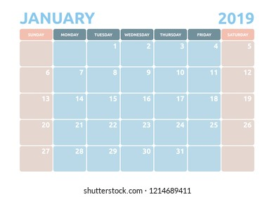 Minimal Calendar design for January of 2019 with copy space for desk planner and organiser the appointment.
