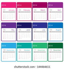 Minimal calender 2014 year vector colourful