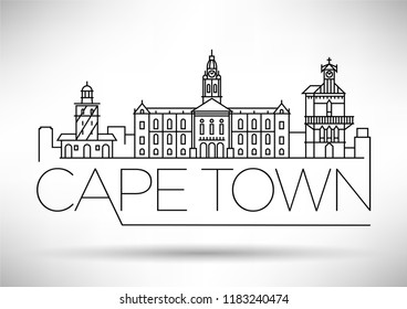 Minimal Cape Town City Linear Skyline with Typographic Design