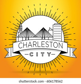 Minimal Charleston Linear City Skyline with Typographic Design
