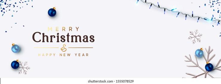 Minimal Christmas banner. Background festive design of sparkling lights blue garland, realistic balls baubles, 3d render silver snowflake. Xmas horizontal poster, greeting cards, header website.