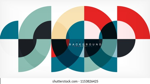 Minimal circle abstract background design, multicolored template for business or technology presentation or web brochure cover layout, wallpaper. Vector illustration
