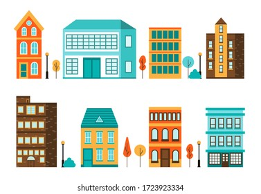 Minimal city landscape. Abstract cityscape house set in flat style, simple geometric buildings with trees and bushes. Design templates for covers, banners, websites. Vector illustration