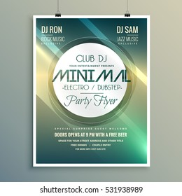 minimal club music flyer brochure template in modern style