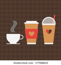 Minimal coffee icons and beans pattern