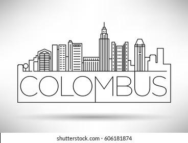Minimal Colombus Linear City Skyline with Typographic Design