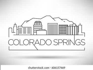 Minimal Colorado Springs Linear City Skyline with Typographic Design