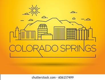 Minimal Colorado Springs Linear City Skyline with Typographic Design