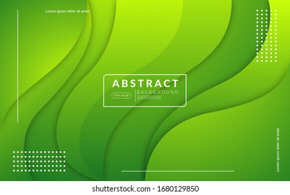 Minimal colorful green background with dynamic shape. Modern abstract vector background.