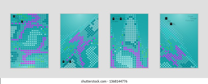 Minimal cover banner template. Geometric halftone gradient texture. Futuristic abstract modern pattern with halftone color effect creating digital art.
