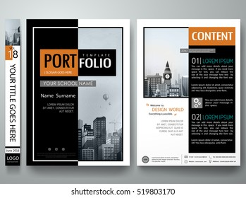 Minimal cover book presentation. Black and white abstract square brochure design report business flyers magazine poster. Portfolio template vector. City concept in A4 layout.